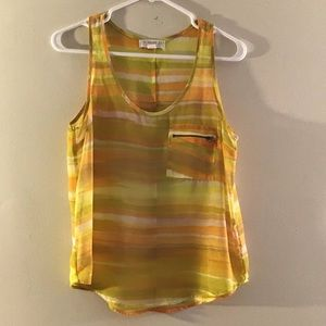 F21 yellow sheet sleeveless top